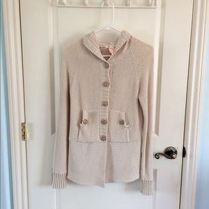 Tulle   Cream Knit Hooded Cardigan Jacket